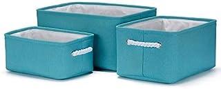MADHEHAO Boîte de Rangement Pliable 3 pièces, Panier de Rangement en Toile avec poignée en Corde de Coton pour étagères, v...