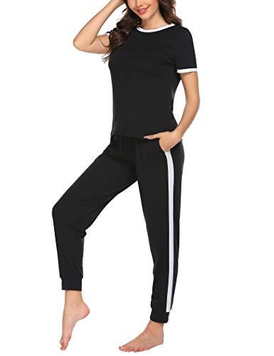 Ekouaer Womens Pajama Set Short Sleeve Sleepwear Sport-Style Nightwear Soft Pjs Lounge Sets with Pockets Black