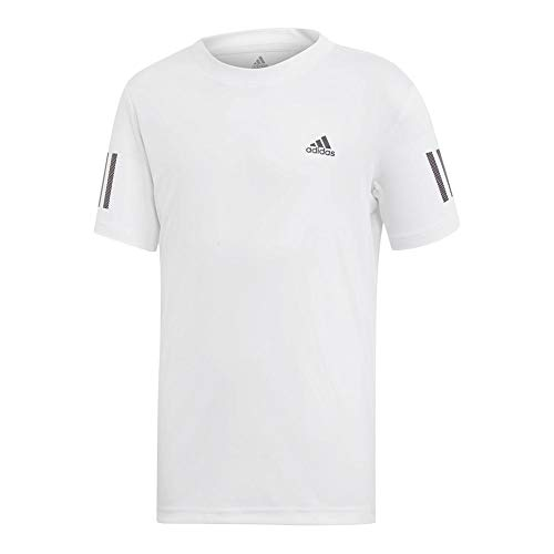 adidas Youth Club 3-Stripes Tennis Tee, White/Black, Large