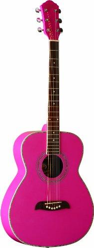 Oscar Schmidt OF2P - Guitarra acústica con cuerdas metálicas, color rosa