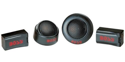 BOSS TW15B 250W 1 Inch Micro Dome Car Audio Tweeters Black + External Crossovers