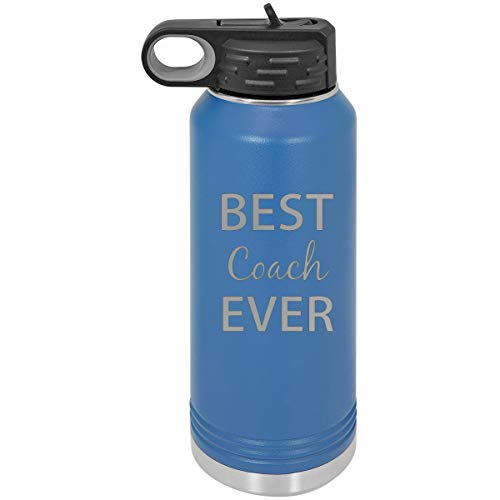CustomGiftsNow Best Coach Ever Double Wall Insulated Stainless Steel Engraved Sports Water Bottle with Flip Top Lid, Straw