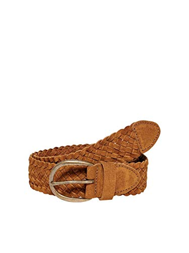 ONLY Damen ONLLOUISA Braided Leather Jeans Belt Gürtel, Cognac, 80