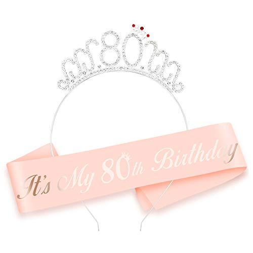 HOWAF Oro Rosa 80 cumpleaños Faja de satén cumpleaños Banda y 80 Diadema Tiara para Mujer 80 Años cumpleaños Fiesta de Decoración Accesorios Regalo Mujer