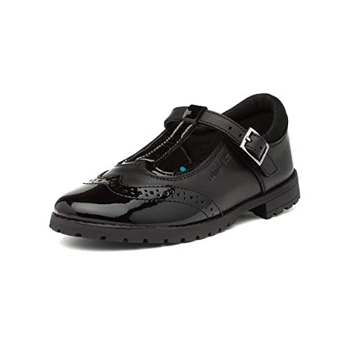 Hush Puppies Maisie Girls Black Leather T Bar Shoe