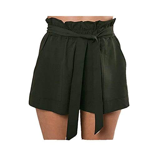 N\P Pantalones cortos sueltos de cintura alta con cinturón para mujer