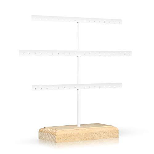 Cosaving Porta Orecchini Pendenti per Orecchini Porta Gioielli da Appendere Porta Gioielli in Metallo Espositore Gioielli per Orecchini, Bracciali e Anelli Bianco