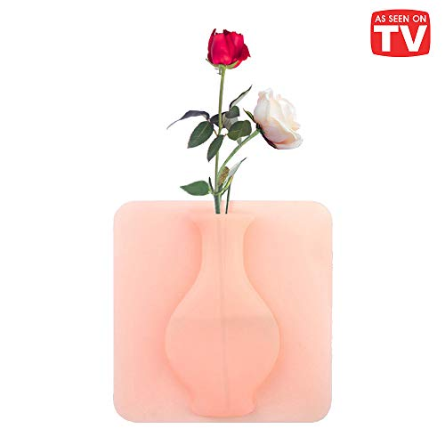 As Seen on TV Magic Vase for Decoration. Reusable Silicone Self-Sticking Pot on Any Smooth Surfaces Such as Fridge Door, Glass Window, CeramicTile. Perfect for Artificial Plants and Flowers. (Pink)