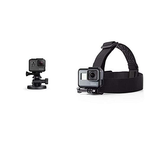GoPro Front Saugnapfhalterung - Gebogene, vertikale Schnellspannschnalle, 2 x Schwenkarme, Rändelschrauben (Offizielles GoPro-Zubehör) & Amazon Basics Kopfgurt für GoPro Actionkamera