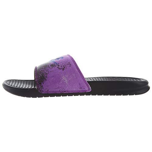 Nike Benassi JDI Print, Zapatos de Playa y Piscina Hombre, Multicolor (Black/Racer Blue/Vivid Purple 017), 40 EU