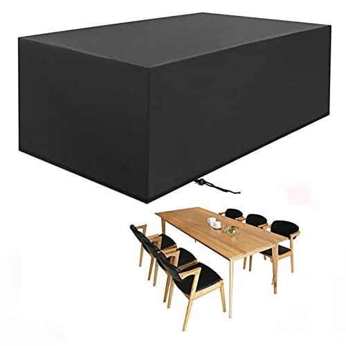 CHLDDHC Fundas rectangulares Muebles Patio, Guardapolvo para Muebles Tela Oxford 210D Prueba Polvo Impermeable Rayos UV,Black-350x260x90cm