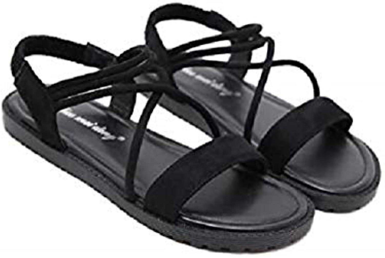 SweetMe Women's Flat-Soled Flat-Heeled Summer Button Roman Open Toe Fashion Sandals