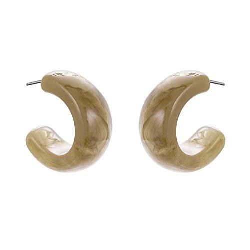 Boburyl 1 Pair Acrylic Hoop Earrings Marble Shell Half Moon Circle Stud Earrings Women Girls Jewelry
