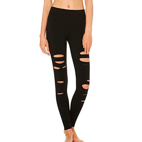 Fintass Vrouwen Ripped Yoga Leggings Broek Hoge Taille Slim Stretchy Sport Fitness Broek Gaten Panty Yoga Skinny Leggings