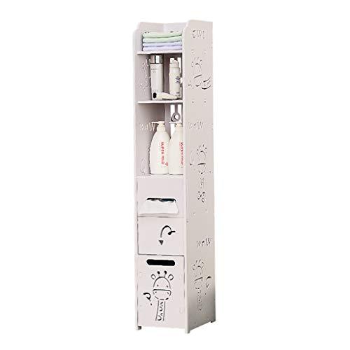 Schubladenboxen Badezimmerregal, deckenhoher Lagerschrank, Gesteppte Aufbewahrungsbox, Schlafzimmer, Aufbewahrungsschrank, Bücherregal (Color : Weiß, Size : 22 * 25.7 * 120cm)