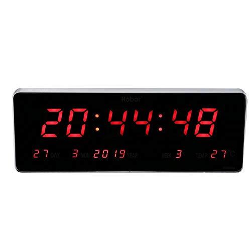 Vobor LED digitale wandklok 110-240V kalender klok temperatuur wandklokken, digitaal LED klok EU-stekker met USB-kabel