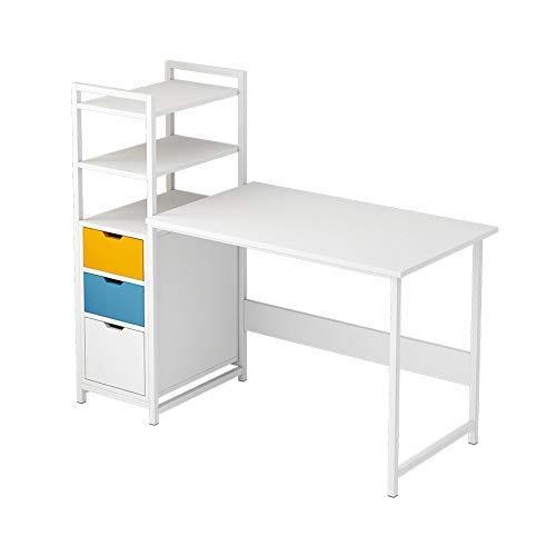 Equipo Escritorio de Oficina en casa Escritorio de computadora Moderno y Robusto con estantería y cajón Simples Se Utiliza en dormitorios y oficinas de 107 cm