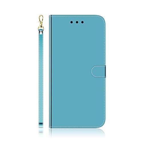 i-Case Funda para Samsung Galaxy A01 Core Espejo Funda Teléfono Delgado 360° Protection Flip Caso Mirror Espejo tirón del Carcasas y Fundas Cierre Magnético Billetera para Samsung M01 Core,Azul