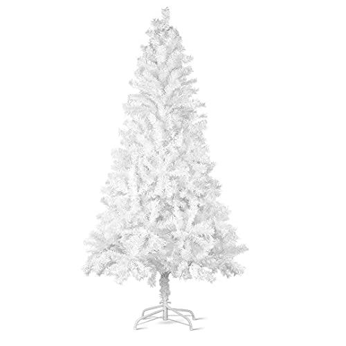 Árbol de Navidad artificial blanco, incluye soporte de madera, 1000 puntas, 182 cm (diámetro aprox. 120 cm), difícilmente inflamable, con sistema plegable (182 cm (diámetro aprox. 120 cm)
