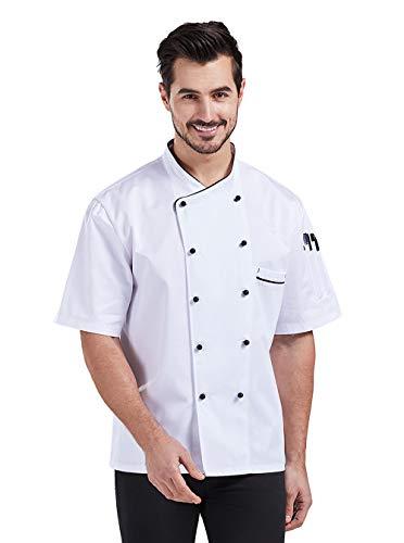 Nanxson Giacca da Chef Manica Corta Giacca da Cuoco Ristorante Divisa da Cuoco per Uomo Donna CFM0048 (Bianco Nero, L)