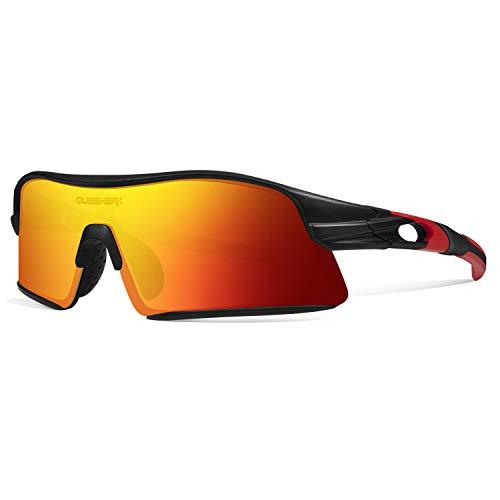 Queshark Polarizadas Gafas de sol Deportivas con 4 Lentes Intercambiables para Hombres Mujeres Ciclismo Correr Conducir Pesca Golf Gafas de béisbol QE0049