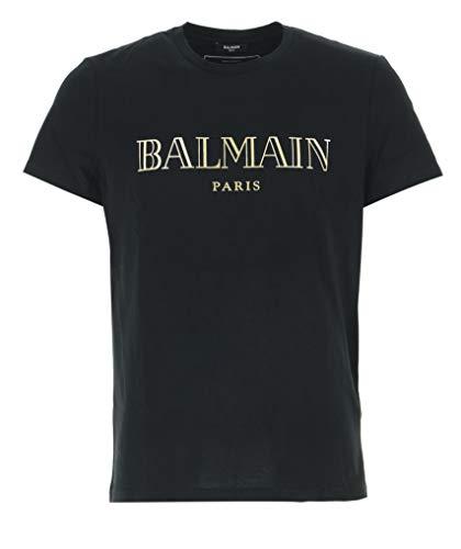 Balmain 11601EAD-EAD-Estate 2020 T-Shirt für Herren, Schwarz mit goldenem Logo, Schwarz Small