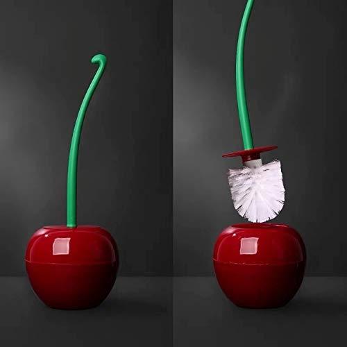 LAZY CAT Escobilla de inodoro y soporte con forma de cereza, cepillo de limpieza para inodoro de baño con mango largo (color: rojo vino y blanco bursh)