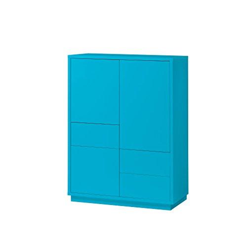 K-Möbel Highboard Anrichte Kommode Türkis Dekor 3 Türen 3 Schubladen Push-to-Open 110x80x38 cm