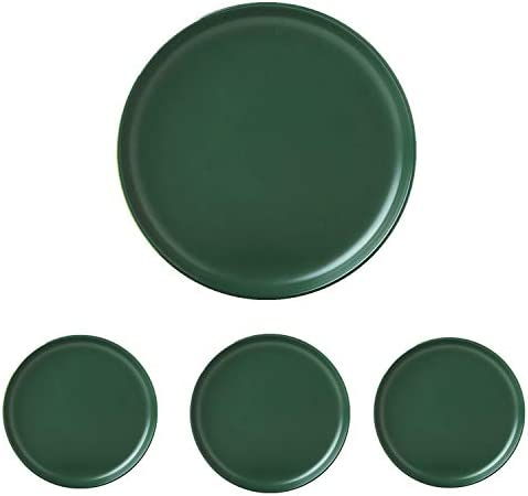 Swuut Matte Ceramic Dinner Plates 10 Inch Set of 4 Dishwasher Salad Pasta Plates 10in Green product image
