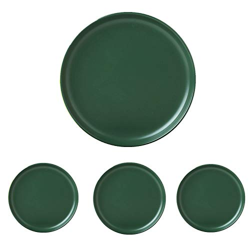 Swuut Matte Ceramic Appetizer Plates 6 Inch,Set of 4, Dishwasher Snack Bread Butter Plates,Mini Size (6in, Green)