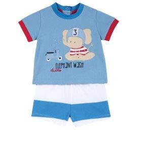 Chicco Completo T-Shirt Manica Corta + Pantaloncini Mono, Turquesa (Azzurro Rigato 023), 52 (Talla del Fabricante: 056) para Bebés