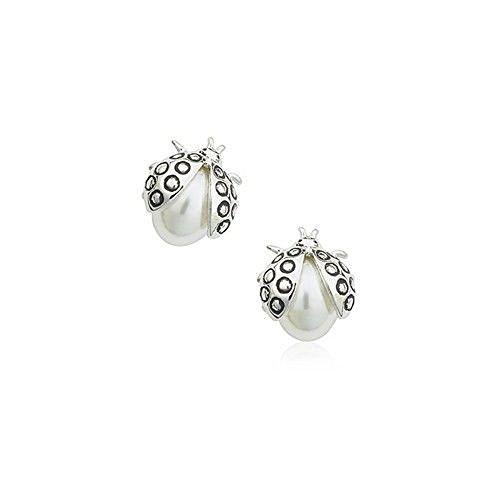 Mariquitas Pendientes con Cristal Swarovski Perlas blancas simuladas 18k Chapado en oro para mujer y...