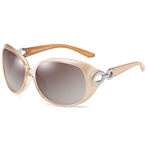 DUCO Damen Sonnenbrille polarisiert Klassisch Stern 100% UV-Schutz 1220 (Champagner)