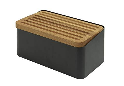 Legnoart Crispy Black Bread Box With Double Functioning Lid: Oak Bread Cutting Board and Lid