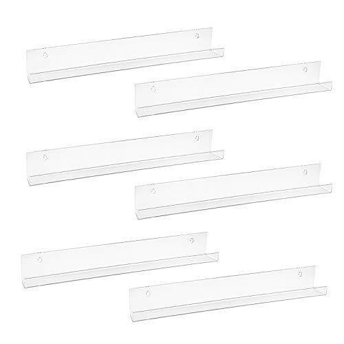 Fasmov 6 Pack 15 Inch Acrylic Floating Bookshelf, Invisible Wall Bookshelves for Kids Room, Living Room, Office, Bedroom, Bathroom, Kitchen