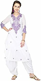 Pret A Porter White Embroidered Kurti With Salwar
