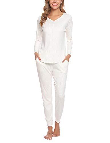 Aibrou Damen Schlafanzug Lang Pyjama Set Zweiteilige Nachtwäsche Hausanzug Sleepwear aus Baumwolle Langarm Rundhalsausschnitt Weiß M