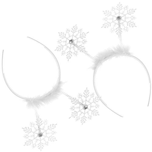 SZMRCA 2pcs Blanc noël Bandeau Polyester Bandes de Cheveux Mignonne Flocon de Neige cerceaux Enfants Flocon de Neige Coiffe décorative Partie Fournitures, 2pcs