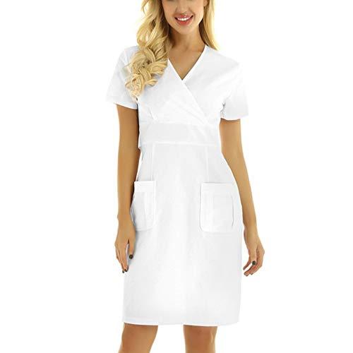 Arbeitskleidung Unisex Kurzarm Kleid V-Ausschnitt Tops Pflege Medizin Arzt Uniform Berufsbekleidung Krankenschwester Kleidung Damen Uniformen Oberteil mit Solid Tasche Lässig Dress
