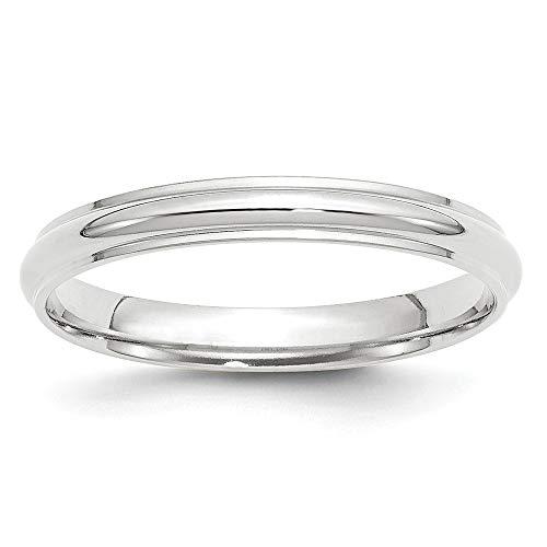 14K oro blanco 3mm mitad redonda con borde Band Tamaño 4a 14