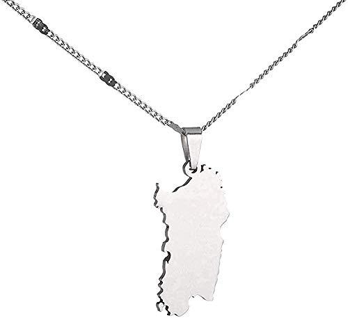 WYDSFWL Collar de Acero Inoxidable Italia Cerdeña Mapa Collar de Moda Color Plateado Sardegna Chian Collar de joyería