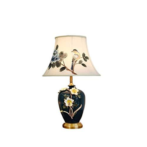 WNN-URG Lámpara de mesa de cerámica nueva lámpara de mesa china lámpara de noche de dormitorio creativo completo cobre tallado sala de estar estudio lámpara de mesa ahorrar energía WNN-URG