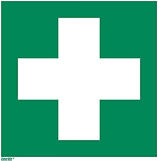 First aid Sticker, photoluminescent 8 x 8 inches Rescue Sign, ISO 7010 [E003], Pack of 1