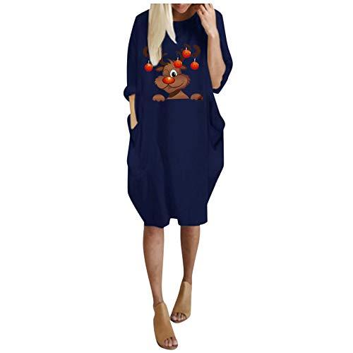 T-Shirt Kleid Damen Langarm O-Ausschnitt Mini Kleider Lose Swing Blusen Tunika Kleid...