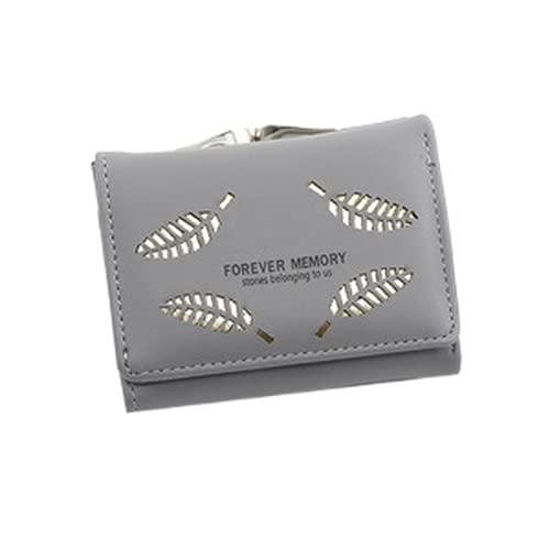 Billetera, una Billetera Corta, usando la Piel de PU, decoración Personalizada de la Hoja Hueca, Gran Capacidad de la Bolsa de la Felicidad de Tres Veces
