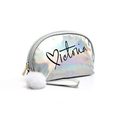 PoplarSun Maquillage Sac Voyage Femmes Mignon Make Up Sacs Lettre Zipper PVC Mode Femmes Voyage Organisateur Sacs cosmétiques (Color : Silver)