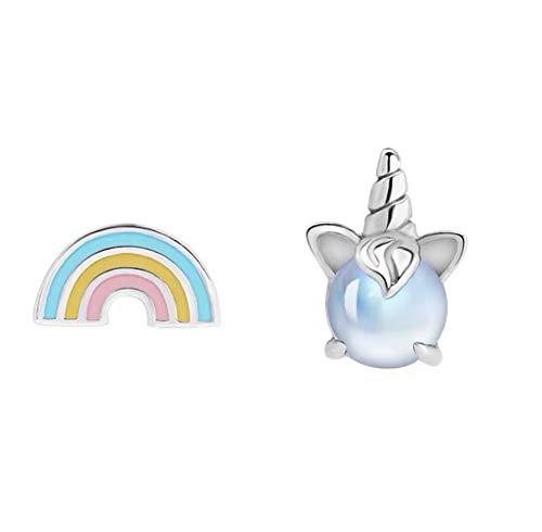Iszie Joyería de plata de ley dulce unicornio y arco iris Stud ganancias