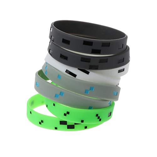 ciriQQ - 6 pulseras de silicona con diseño de minero pixelado mixto, para regalo de cumpleaños, hombres, mamá y amiga