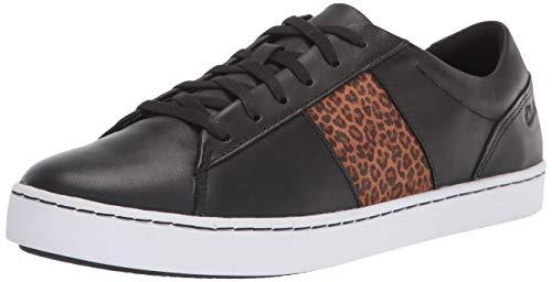 Clarks Pawley Rilee, Zapatillas Deportivas. Mujer, Piel Negra con Leopardo, 39 EU