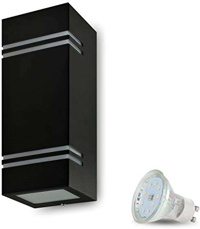 LED Wandleuchte Aussen VENEZIA 7 (Eckig, Schwarz) inkl. 2x LED 4W Warmweiss, GU10 230V, IP44,Wandlampe,Auenwandleuchte,Wand-Auenlampe,Eingangsleuchte,Wandbeleuchtung,Gartenfassung aus Aluminium Glas